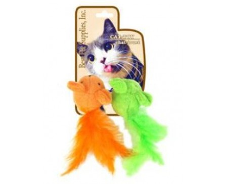 Best Pet Two Mice Cat Toy - Orange/Green