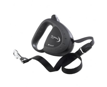 Flippy Tech Cord Extendable Dog Leash - Medium Black